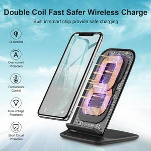 Image 4 - CHOETECH Wireless Charging 15W Qi Stand for iPhone 12 Pro X XS 8 Fast Wireless Charging Station for Samsung S10 S9 Phone Charger
