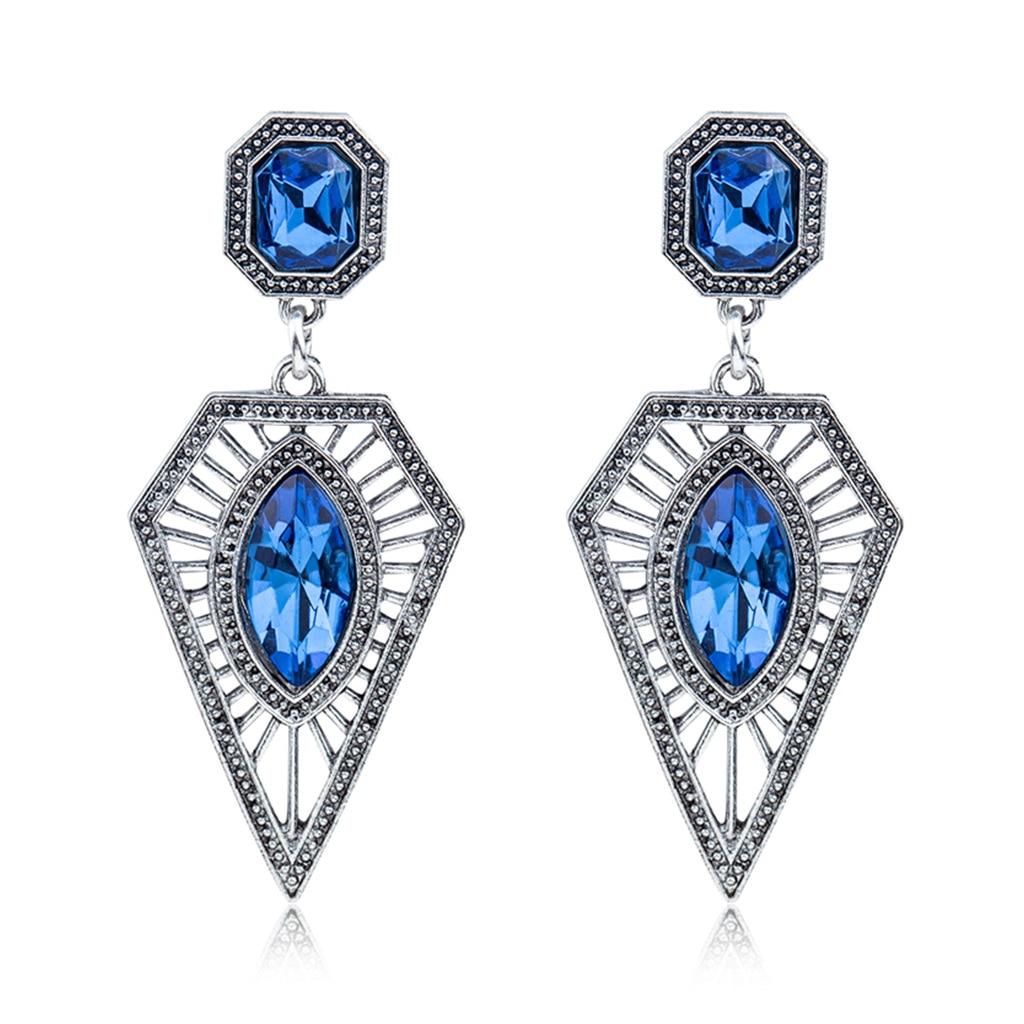 Nouvelle mode de bijoux doreille de commerce extérieur Euro-américain, boucles doreilles creuses triangle bule exagérées