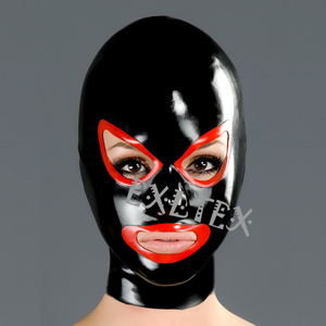 Image 3 - Latex Hood Unisex Latex Fetish Mask sm Mask With Shaped Eyes Nose and Mouth Rubber Hoods Deadpool Mask