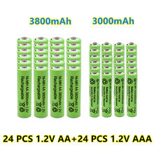 New 1.2V AA 3800mAh NI-MH Rechargeable Batteries+1.2 V AAA 3000 mAh Rechageable battery NI-MH battery