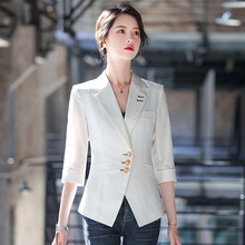 Summer women's blazer 2020 New Casual Casual Sleeve Casual Ladies Jacket Slim-fit single-breasted suit Red black white