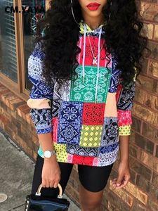 CM.YAYA Autumn Women Bandanna Paisley Print Hooded Sweatshirt Classic Streetwear Fashion Long SLeeve Pullover Hoodies Tops S-4XL