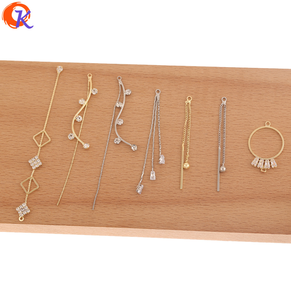 Cordial Design 50Pcs Jewelry Accessories/CZ Earring Findings/DIY Making/Rhinestone Claw Chain/Hand Made/Connectors For Earrings