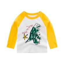 купить Kids Top T-Shirt Long-Sleeve Girls  Baby Children Toddler  Tee Cotton Autumn Spring Print Dinosaur Cartoon Clothing Clothes онлайн