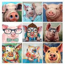 DIY Diamond Painting Full Square Drill Cartoon Pig Embroidery Mosaic Display Picture Of Rhinestones Home Decor
