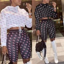 Z kapturem specjalna konstrukcja z długim rękawem Crop topy i spodnie 2 sztuk zestaw w stylu Casual, damska moda dresy