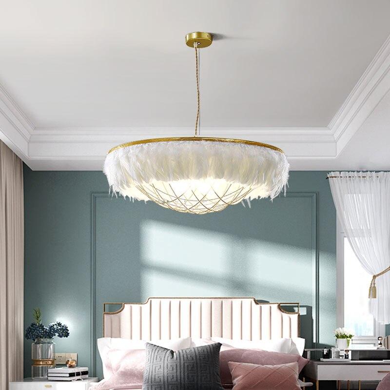 Nordic Ins Living Room Feather Chandelier Creative Children's Princess Room Net Red Hotel Bedroom Romantic Warm Chandelier