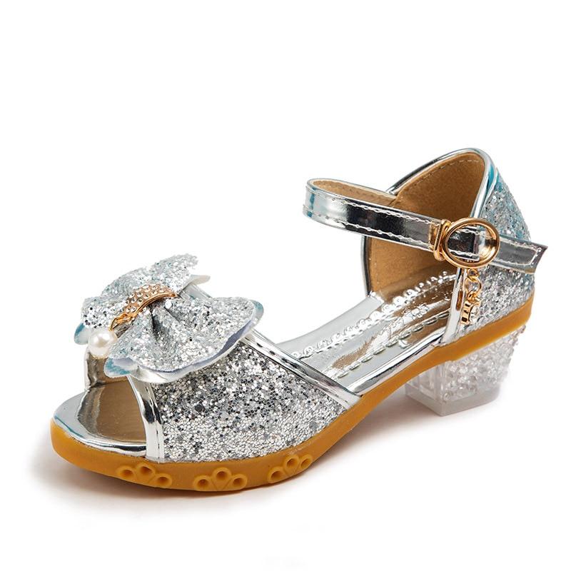 Christmas Girls Shoes Children Leather Sandals Sequins Kids High Heels Baby Girl Kindergarten Princess Sandals Party Shoes 26-36