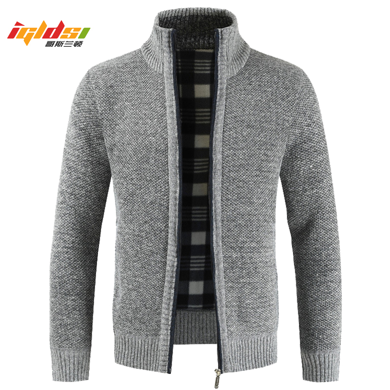 Men's Winter Sweater Coat Faux Fur Wool Sweater Jackets Men Zipper Knitted Thick Coat Autumn Warm Casual Cardigan Plus Size 3XL