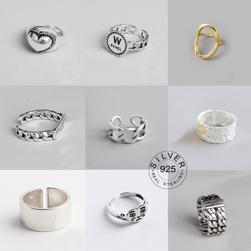 Sterling Silver Rings Jewelry Letter Gifts Punk Adjustable Men Women S925 Party for Open