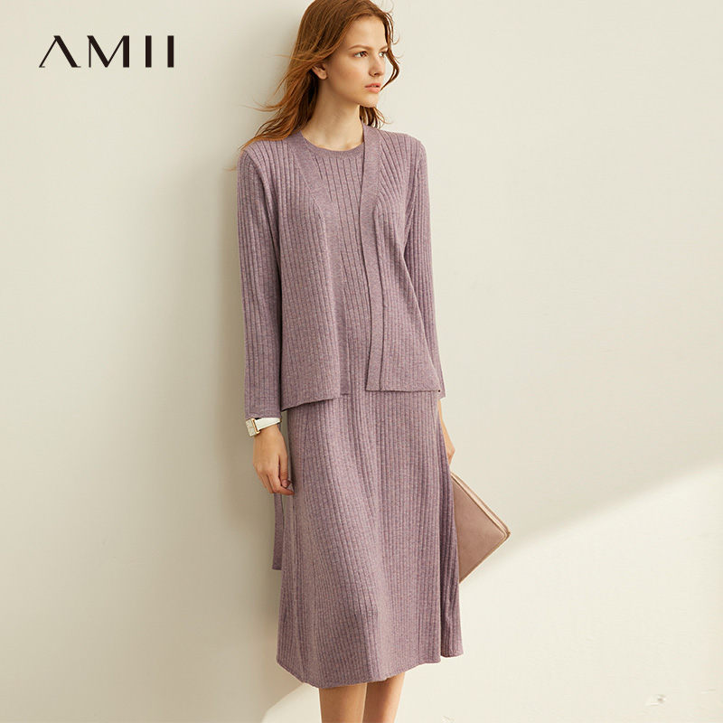 Amii Minimalist Knitted Two-pieces Set Autumn Women Sleeveless Mid Long Dress V-neck Solid Cardigan Female Suit 11940564