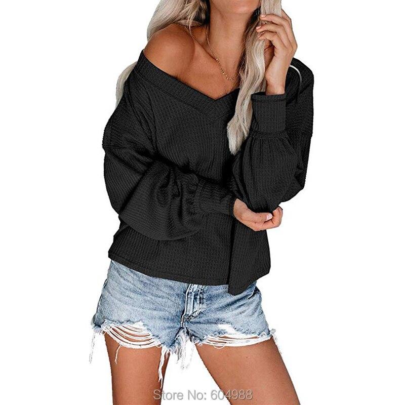 Waffle Knit Pullover T-Shirts Billowed-Sleeves Drop-Shoulder Loose Long Womens Tops
