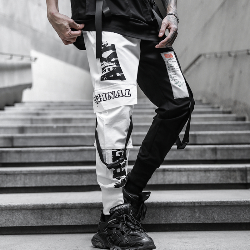 2020 NEW Harajuku Street Color Spliced Fashion Mens Joggers Sweatpants Hip Hop Printed Casual Pencil Trousers Streetwear