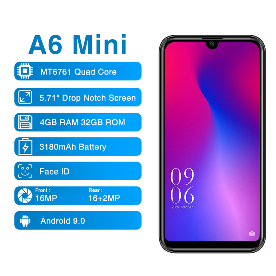Elephone A6 Mini MT6761 Quad Core Cell Phone HD+Screen 5.71'' Android 9.0 Smartphone 4GB RAM 32GB ROM 16MP 4G Mobile Phone
