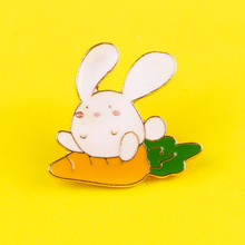 Cartoon Rabbit Enamel Pins Badges for Clothes Cute Animals  Badges on Backpack Jeans Decor Metal Brooches Jewelry Children Gift patchfan trump metal zinc enamel pins trendy medal insignia para backpack shirt clothes bag brooches badges for men women a1905