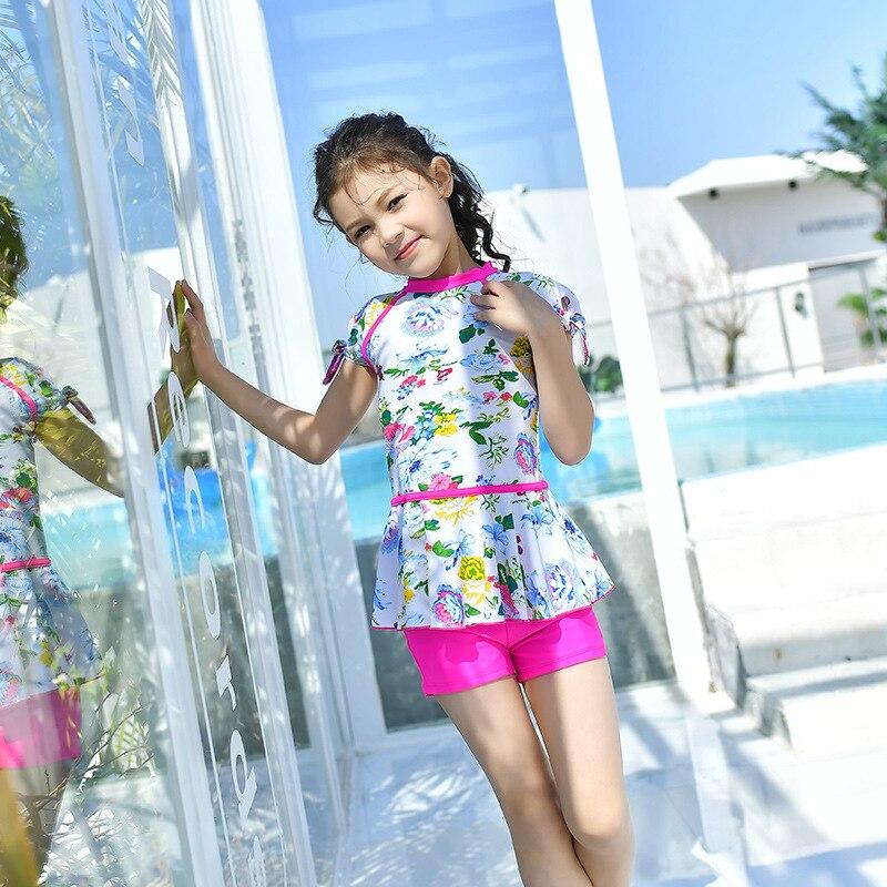 KID'S Swimwear Girls Split Type Boxer Bathing Suit Skirt Floral-Print Sweet Short Sleeve GIRL'S Children Waist Hugging Conservat