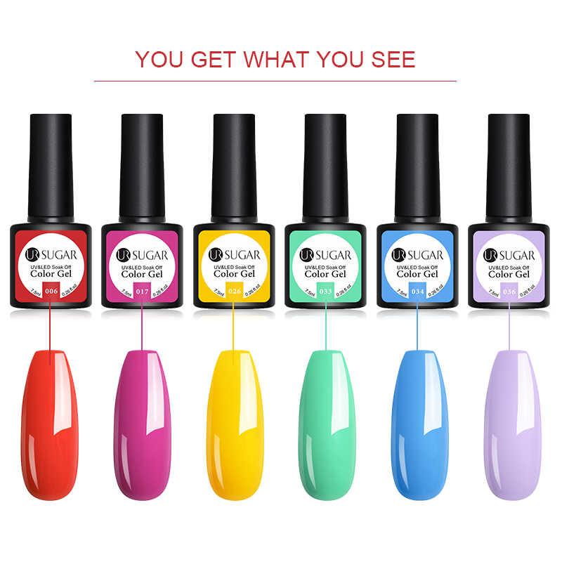 UR ZUCCHERO Glitter UV Del Gel Del Chiodo Set Serie Colore Nudo Del Chiodo Del Led Gel Per Unghie Semi Permanente per unghie Paillettes gel 2 pz/set
