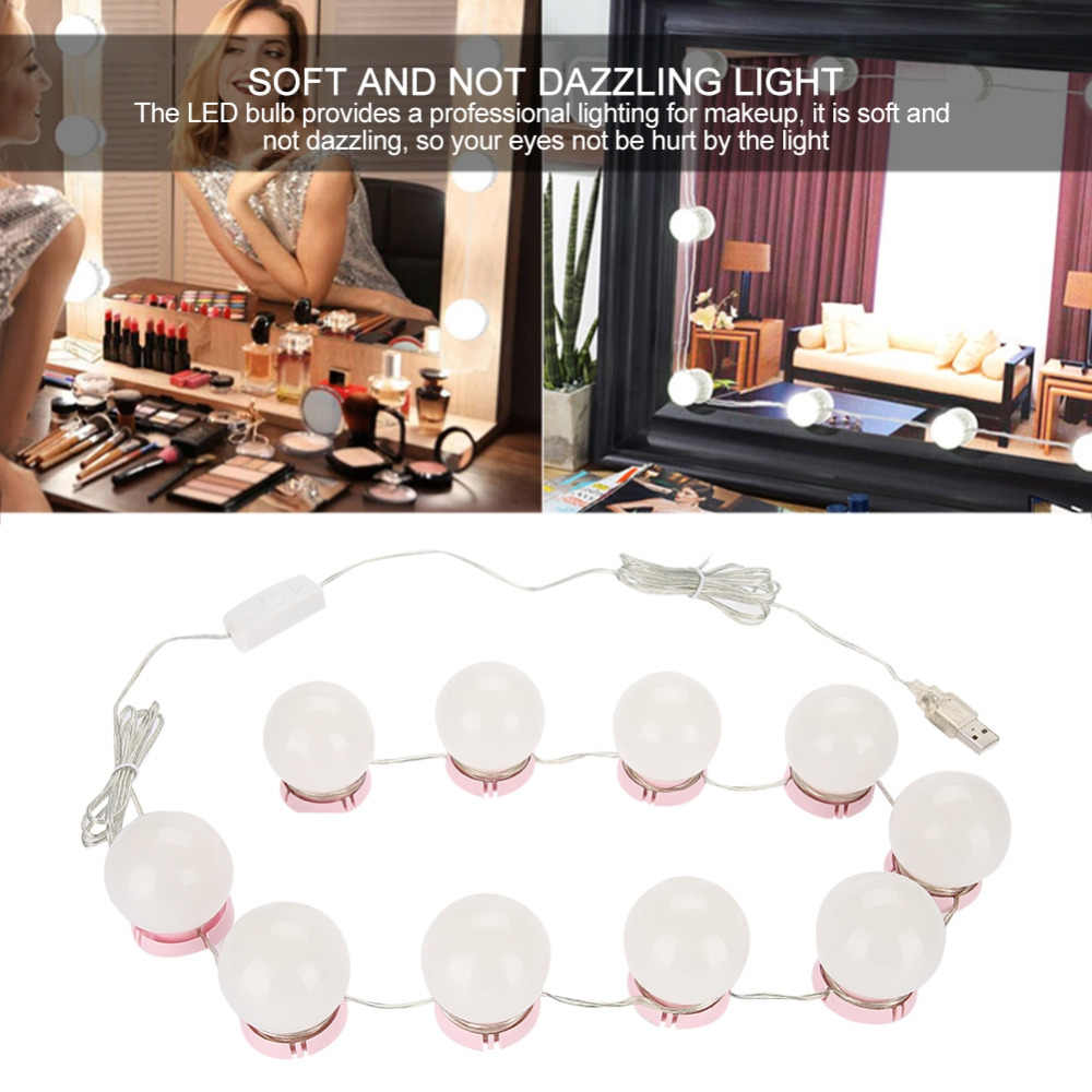 DressingTable Mirror Vanity LED Light Bulbs USB Charging Port Cosmetic Lighted Make up Mirrors Bulb Adjustable Brightness Lights