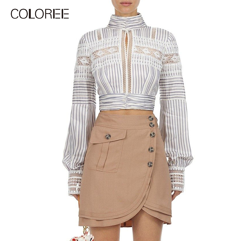 COLOREE 2019 Women Blouse Self Portrait Long Sleeve Stand Chic Tops Blusas Elegant Backless Striped/White Lace Blouse Female