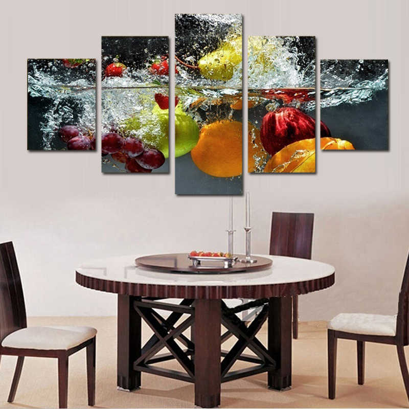 5 Piece Modern Fruit Abstract Painting Wall Decoration Home Decor Canvas Art Painting for Kitchen Giclee Cuadros Para El Hogar