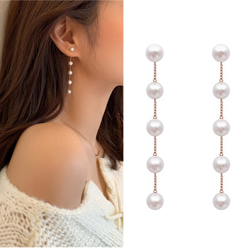 New Trendy Fairy Simulated Pearl Women Long Earrings White Round Wedding Pendant Korean Fashion Jewelry