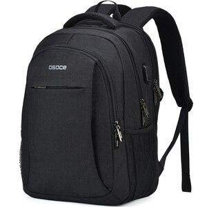 Image 1 - OSOCE сумка для ноутбука рюкзак 15,6 дюймов с зарядка через USB Порты и разъёмы для наушников Водонепроницаемый Бизнес рюкзаков сумок