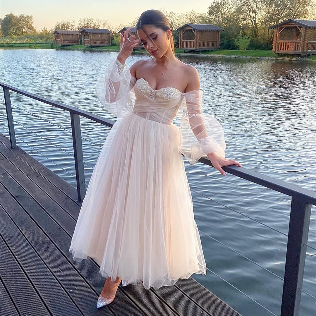 Short Wedding Dress Off Shoulder A Line Tulle light Champagne Puff Sleeve Birdal Gowns Tea Length Formal Party Dress for Women