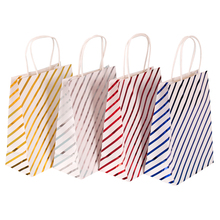 10 Pcs/lot Lovely Golden Red Blue Hot stamping Striped stars Paper Bags With Handle for wedding birthday party  21*15*8cm