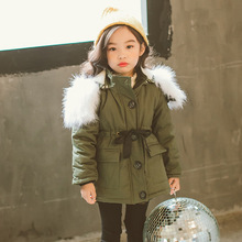 New Winter Coat Girl Cotton Long Jacket&Outwear Children Cotton-padded Jacket Girls Winter Clothes Warm Coat Fur Hooed Snowsuit недорого