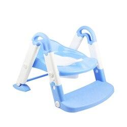 3 en 1 niños inodoro portátil silla plegable asiento de entrenamiento para el baño con el paso taburete asiento de entrenamiento para el baño-Universal azul Rosa L