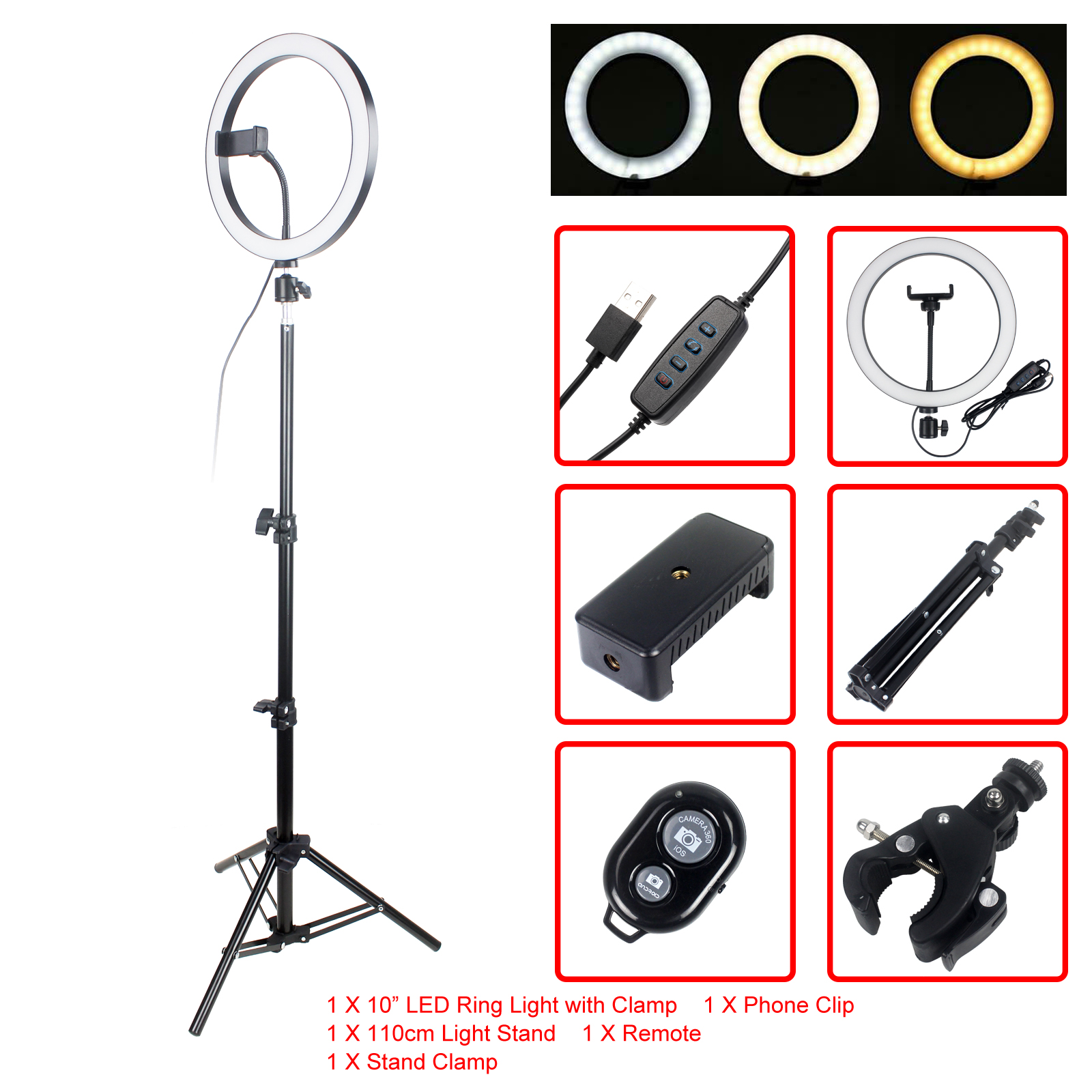 LED Ring Light Dimmable Selfie Ring Lamp Photographic Lighting With Tripod Light Stand Phone Holder for Live YouTube image
