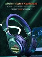 Auriculares inalámbricos plegables con Bluetooth para juegos, cascos con estéreo Hifi, compatibilidad con FM, tarjeta SD, para PC y teléfono móvil