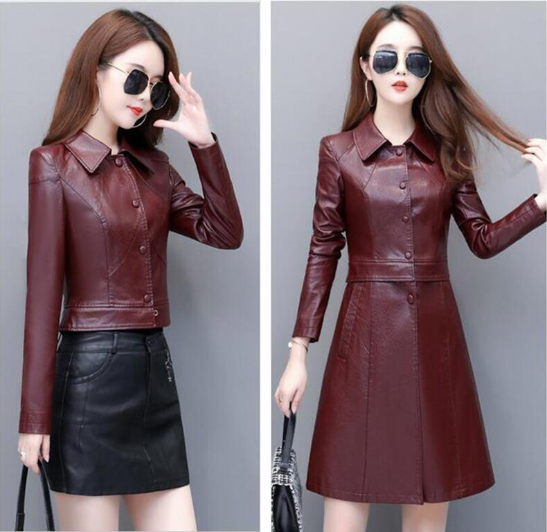 New Fashion Plus Size 3XL 4XL   Leather   Jacket Women   Leather   Coat 2019 Autumn Women's   Leather   Jacket Long Slim Coat Female Jacket