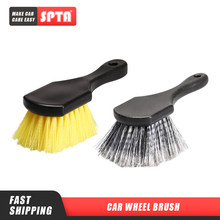 Spta cubo de beleza do carro escova curto lidar com escova de limpeza de pneus roda do carro ferramentas de limpeza de borda handheld duro náilon cerdas aro escova
