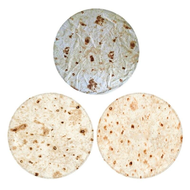Комфортная еда творения Burrito обертывание одеяло круглый ковер для ванной комнаты 60 см Мексиканская фланель кухня и Противоскользящий