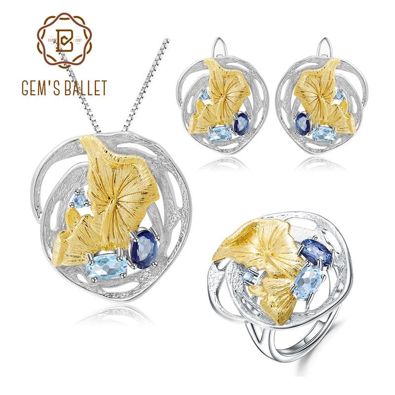 GEM'S BALLET Lotusleaf Natural Sky Blue Topaz 925 Sterling Silver vintage Necklace Sets Handmade For Women Fine Jewelry Sets