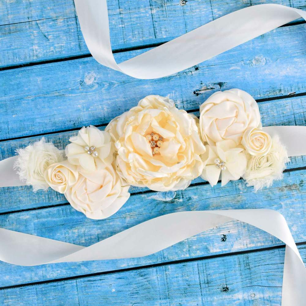 Ivory Floral Maternity Sash Pregnancy Belly Belt Baby Shower Party Photo Prop Baby Belly Belt Bride Wedding Fancy Waistband
