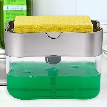 2 in 1 Scrubbing Liquid Detergent Dispenser Press-type Liquid Soap Box Pump Organizer with Sponge Kitchen Tool Bathroom Supplies 1