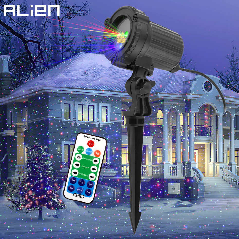 ALIEN Moving Static Red Green Blue Dots Star Christmas Laser Light Projector Outdoor Garden Waterproof Holiday Xmas Tree Lights