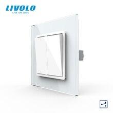 Livolo ab standardı lüks kristal cam Panel, iki gang, 2 yollu Push Button ev duvar anahtarı, c7K2S 11/12, hiçbir logo, anahtar düğmeler çapraz