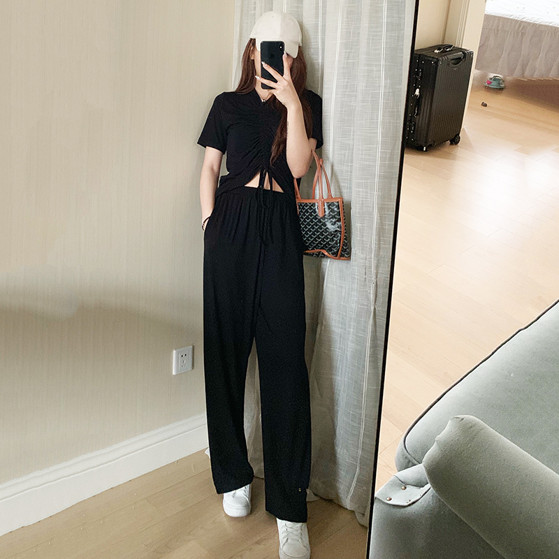 Zmra Summer New Style Tracksuit Modal Knot Sleeves Set Online Celebrity Style Loose-Fit Yoga Clothes Set