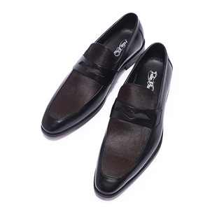 Image 2 - FELIX CHU Luxury Mens Black Penny Loafers Genuine Leather With Horse Hair Pointed Toe Men Formal Party Wedding Dress Shoes
