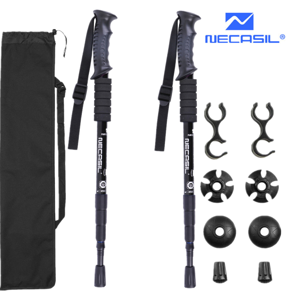 2pcs/lot Trekking Poles Hike Walking Stick Nordic Walking Cane Aluminum Ski Camp Telescopic Baton Outdoor Hiking Poles Crutches