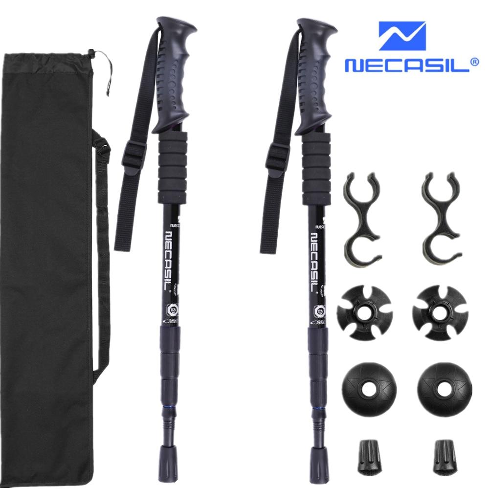 2pcs/lot Trekking Poles Hike Walking Stick Nordic Walking Cane Aluminum Ski Camp Telescopic Baton Outdoor Hiking Poles Crutches