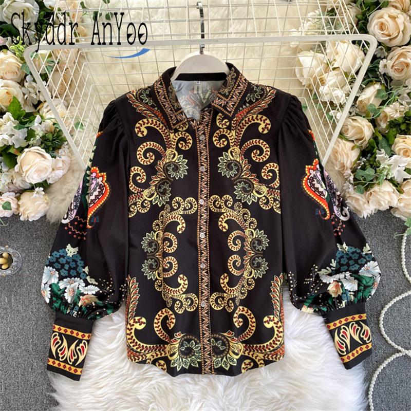 2020 Spring Autumn Women Blouses Vintage Printed Puff Long Sleeve Turn Down Collar Shirt Tops Ladies Chic Blouse Blusas Mujer