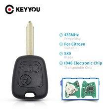 KEYYOU مفتاح تحكم عن بعد 2 زر 433 MHz ID46 رقاقة الكترونية لسيتروين ساكسو كسارا بيكاسو بيرلينجو مع شفرة SX9