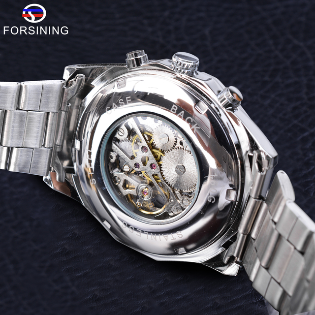 Forsining 2019 Stainless Steel Waterproof Mens Skeleton Watches Top Brand Luxury Transparent Mechanical Sport Male Wrist Watches 5