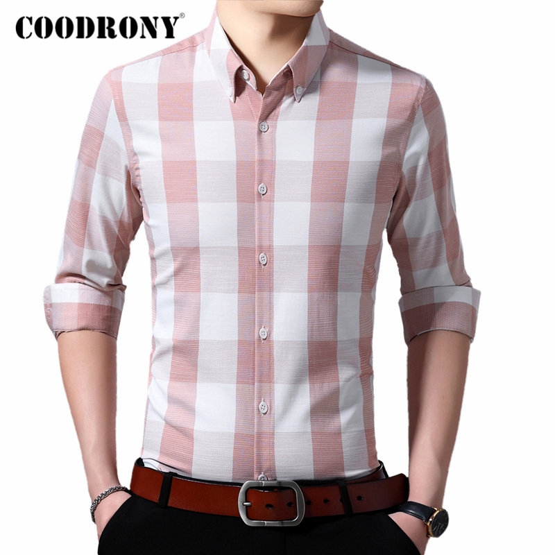 COODRONY Brand Men Shirt Long Sleeve Cotton Shirt Men Young Man Fashion Casual Shirts Slim Fit Big Plaid Camisa Masculina 96100