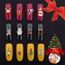 10pcs New Christmas Nail Art Decoration Glitter 3D Reindeer Snowflakes Santa Claus Design Nail Art Sticker Manicure Nail Glitter 10pcs 3d nail jewelry decoration nails art glitter rhinestone for manicure green rose design nail accessories tools