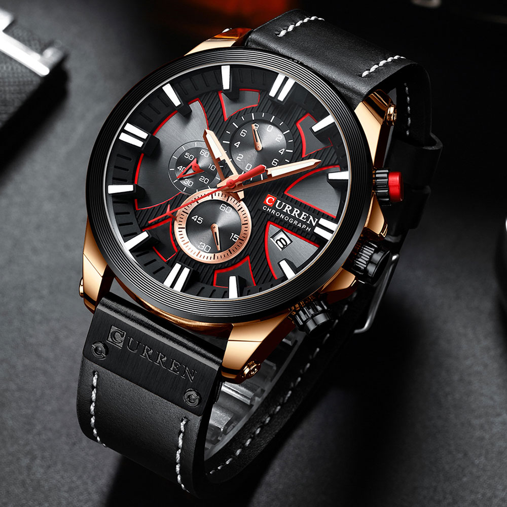 Hbbcf1b9b63e040eebf0ef9ca98a58e53D CURREN  Brand Luxury Men Watch Leather Quartz Clock Fashion Chronograph Wristwatch Male Sport Military 8346 Relogio Masculino